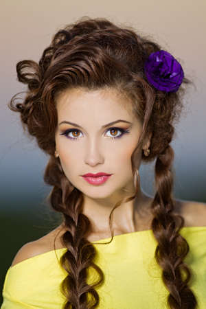 beautiful girl with makeup in a outdoor shooting Stock Photo