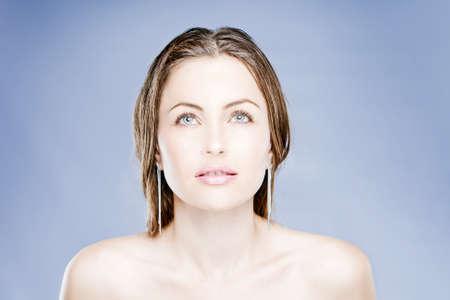 Sensual Young Woman With Beautiful Long Brown Hairs Stock Photo