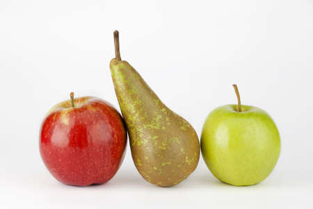 two apple and pear isolated on white background photo