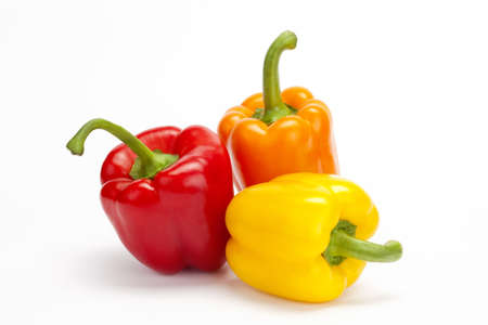 red yellow orange pepper isolated on a white background  Stock Photo