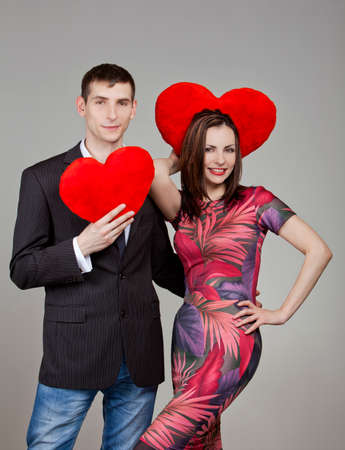 one couple in love with two red hearts in Valentines Day