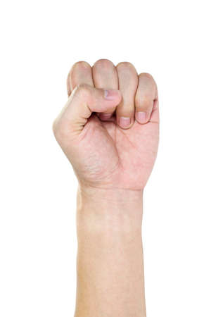 overthrow: Hands with revolution action isolated in white background Stock Photo