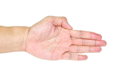 unfurl: Hands with action isolated in white background Stock Photo