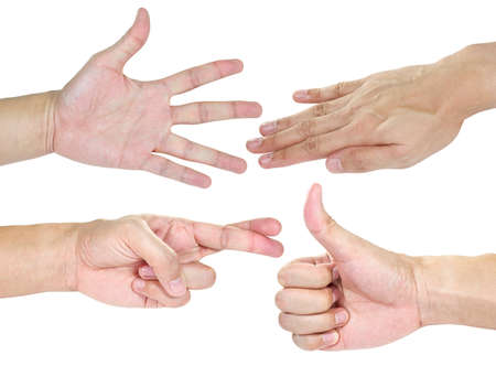 bullshit: Hands with action isolated in white background Stock Photo