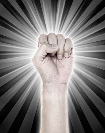 overthrow: Hands with action revolution sign