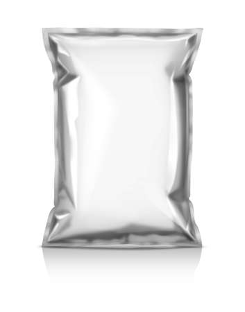 packaging: blank foil snack pouch isolated on white background Stock Photo