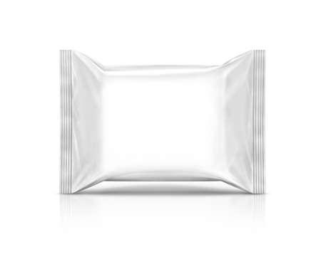 lege plastic wipe zak op een witte achtergrond