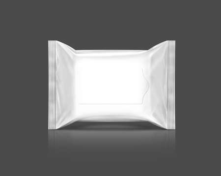 cosmetics products: blank  plastic wipe pouch isolated on gray background
