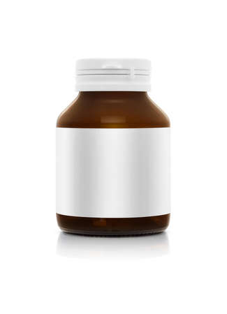 blank supplement bottle with white label isolated on white background