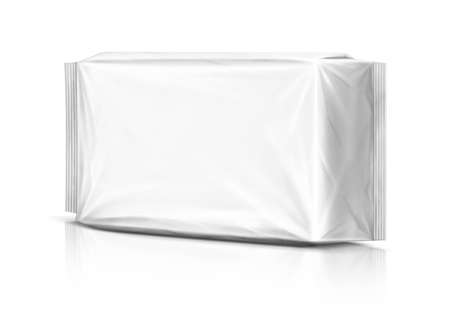 is wet: Blank plastic pouch isolated on white background Stock Photo
