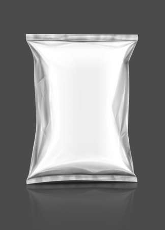 Blank snack packaging pouch isolated on gray background