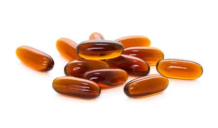 lecithin: Lecithin supplement product capsules isolated on white background Stock Photo