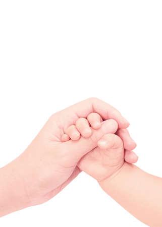 흰색 배경에 고립 된 사랑의 손에 아기 손