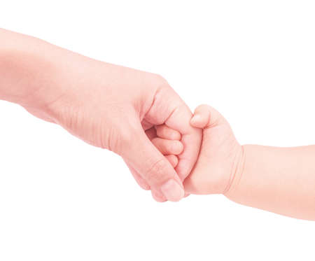 baby hand hold mother hand in softly and isolated on white background