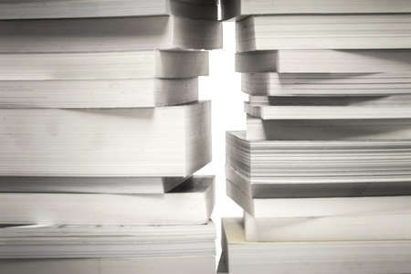 way out: many old book stack and a little space like the way out Stock Photo