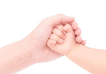 Baby hand in hand van liefde op een witte achtergrond Stockfoto