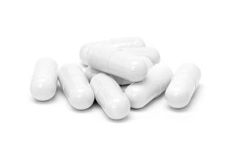 White medicine capsules isolated on white background Stock Photo