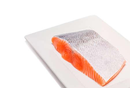 perishable: salmon fish fresh meat slice isolated on white background Stock Photo