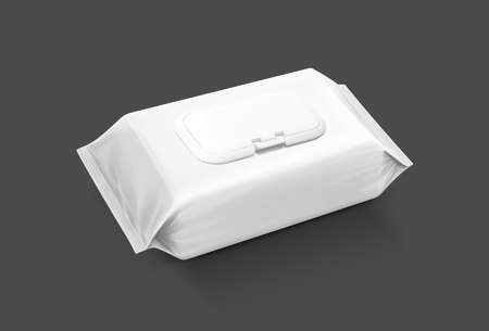 blanco verpakking vochtige doekjes zakje geïsoleerd op een grijze achtergrond Stockfoto