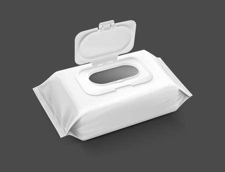 blanco verpakking vochtige doekjes zakje met geopende plastic dop geïsoleerd op grijze achtergrond Stockfoto