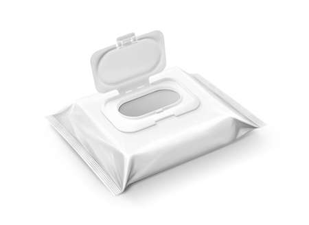 blank packaging wet wipes pouch with opened plastic cap isolated on white background