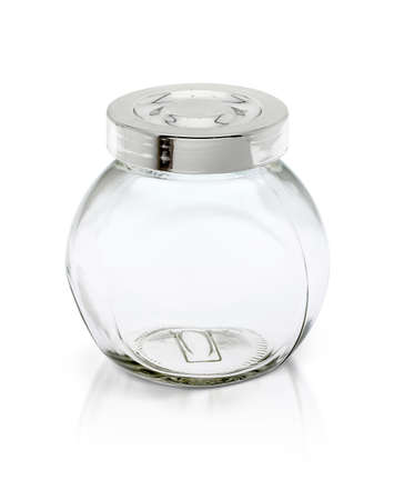 glass jars: Clear glass bottle with silver cap isolated on white background