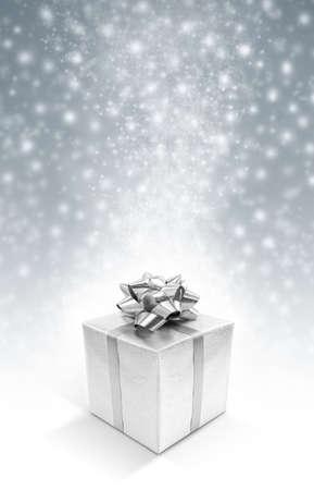 Silver celebration gift box on sparkle background