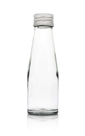 dairying: Empty glass packaging bottle for milk product isolated on white background Stock Photo