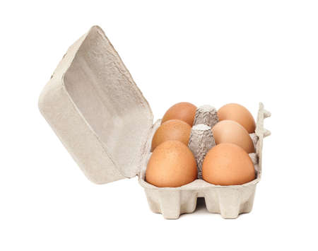 mould: egg in packaging paper mould box isolated on white background Stock Photo