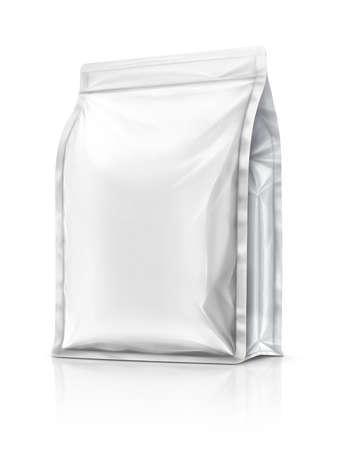 blanco verpakking aluminiumfolie zakje klaar voor product design, geïsoleerd op een witte achtergrond