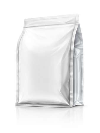blank packaging aluminium foil pouch ready for product design, isolated on white background Banco de Imagens