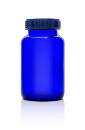 Blank blue glass bottle of supplement product isolated on white background with clipping path