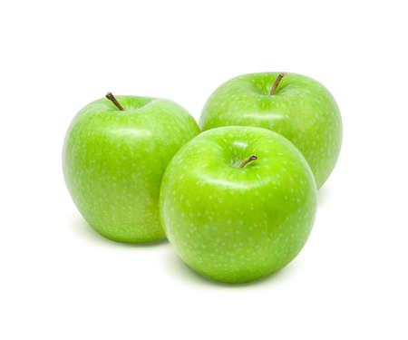 白い背景に分離された新鮮な青リンゴ