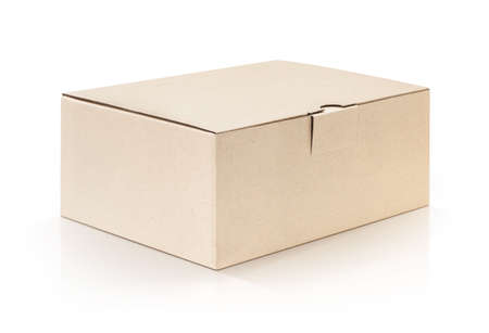 cardboard box: cardboard kraft box isolated on white background with clipping path Stock Photo