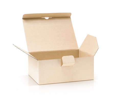corrugate: cardboard kraft box open and isolated on white background with clipping path