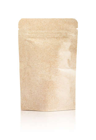 blank packaging recycled kraft paper pouch isolated on white background with clipping path