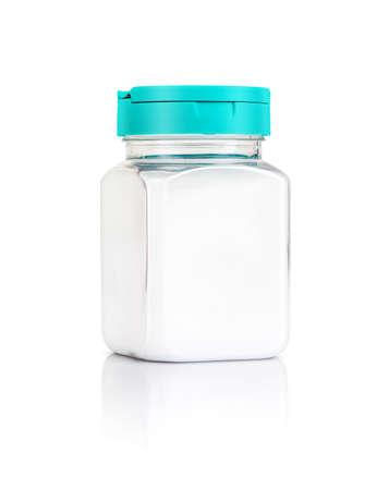 enhancer: blank packaging salt bottle isolated on white background