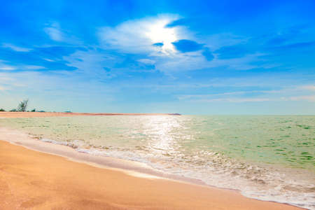 pattani thailand: Calmness beautiful seaside with cloudy blue sky, Beach of Pattani southern Thailand