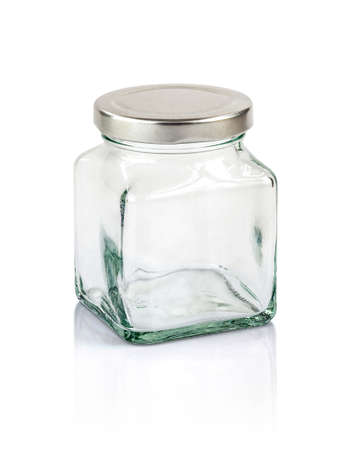 clear path: Clear glass bottle with silver cap isolated on white background with clipping path