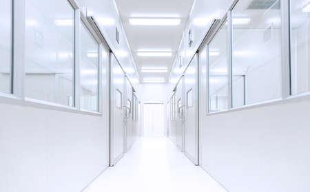 Moderne interieur wetenschap lab achtergrond met verlichting van gateway, ziekenhuis achtergrond, fabriek achtergrond