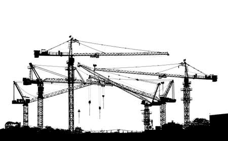 black and white silhouette of construction tower crane