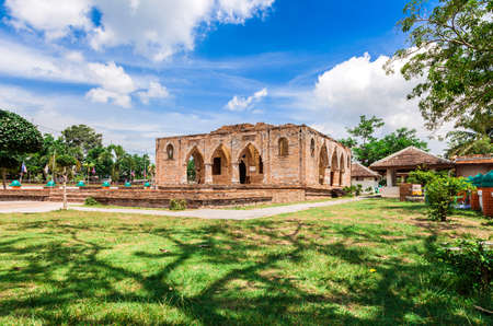 Kru Se historical monuments mosque and ancient remains which is made of bricks with round pillars, Pattani Southern Thailand