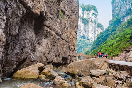 world natural heritage: Wulong Karst limestone rock formations in Longshui Gorge Difeng, an important constituent part of the Wulong Karst World Natural Heritage, Chongqing, China