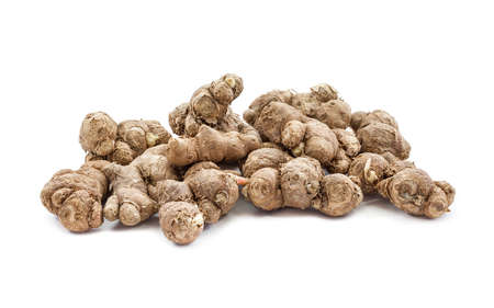 to maintain: black galingale root, thai herb and folk medicine isolated on white background