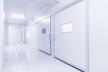 Modern interieur wetenschap laboratorium of fabriek achtergrond met verlichting in monotone