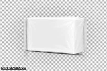 papier blanc humide emballage gel humide isolé sur fond de chemin de mise au point virtuelle avec chemin de détourage