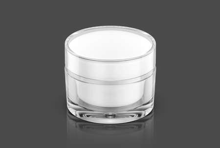 blank packaging clear cosmetic cream pot isolated on gray background