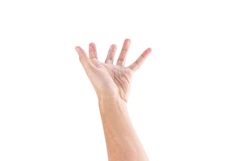 support male hand isolated on white background with clipping path