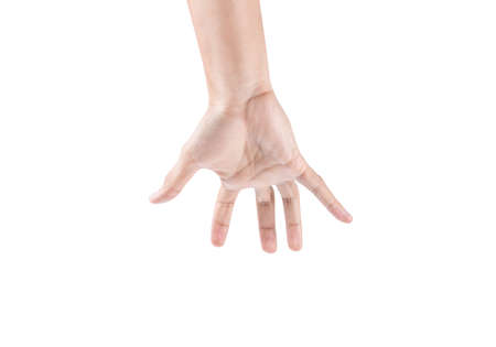 reaching hand isolated on white background with clipping path