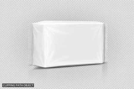 Bolsa de toallitas húmedas de papel de embalaje en blanco sobre fondo de cuadrícula de transparencia virtual con trazado de recorte listo para un diseño de producto saludable Foto de archivo